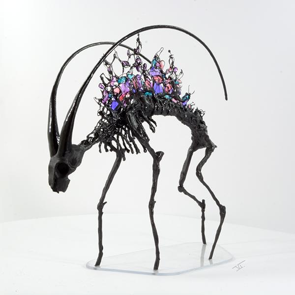 sculpture squelette de chèvre 3/4
